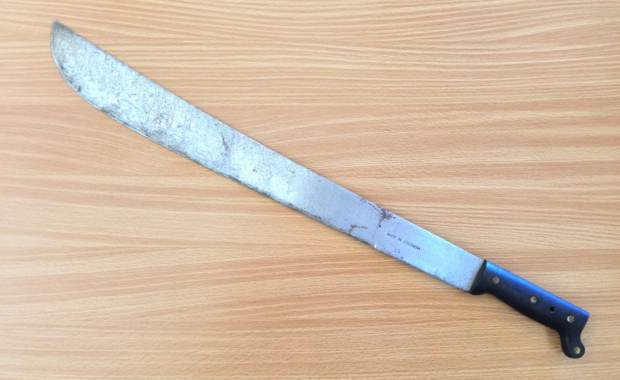 A photograph of the machete wielded by the suspect. (Photo Courtesy of Pepperell Police)