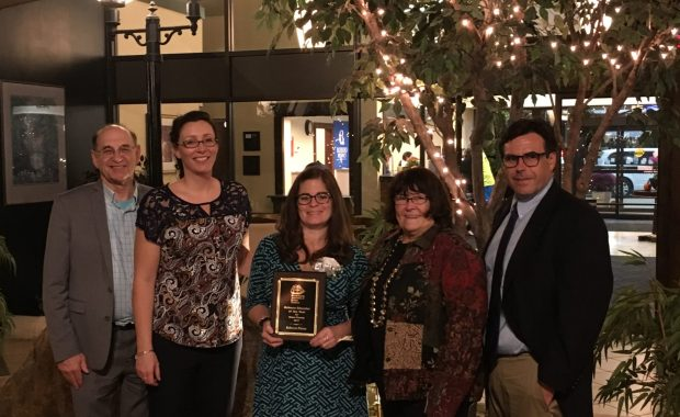 Science teacher Rebecca Pierce received the MAST County Educator of the Year Award. Left to right: Superintendent John Lavoie, GLTS science teacher Jen Dube, science teacher Rebecca Pierce, Andover School Committee member Marilyn fiztgerald and guidance counselor Timothy Cusack. (Courtesy Photo GLTS)
