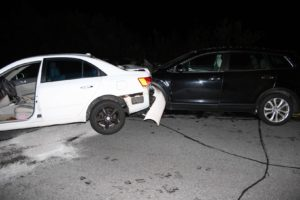 Bedford Police responded to a four-car crash over the weekend. A Mazda, right, rear-ended a Hyundai, left, causing two other cars to sustain damage on Route 114. (Courtesy Photo)