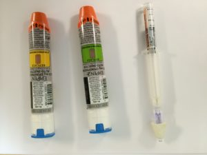 A sample of EpiPens and Nasal Narcan carried by Dunstable Police Department cruisers. (Dunstable Police Photo)