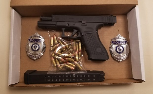 Dracut Police, responding to a call about an armed suspect, uncovered a loaded Glock 9mm handgun with a scratched-off serial number. Police also found 34 rounds of ammunition. (Dracut Police Courtesy Photo)