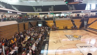 From the stands to the court, clubs lined up all around the SECU Arena to offer students a taste of Towson.