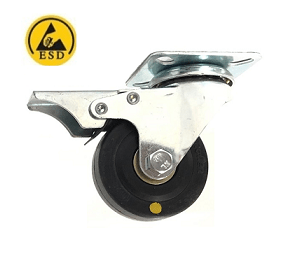 221 Series - Black Conductive (ESD) Top Plate Castors