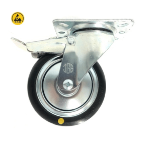 421 SERIES - BLACK RUBBER CONDUCTIVE (ESD) TOP PLATE CASTORS