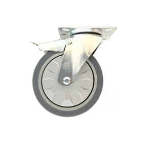 421 SERIES - GREY ELASTIC RUBBER  & POLY URETHANE (ETHER PU) TOP PLATE CASTORS