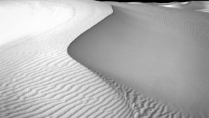 Black & white of White Sands Monument dunes