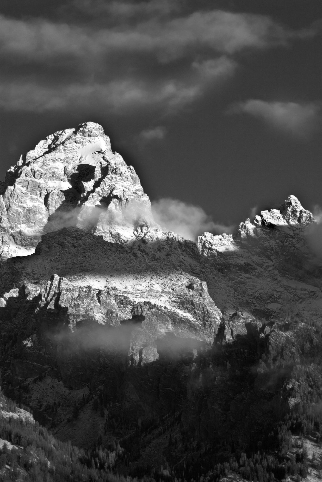 "Snow covered mountain peak at dawn The ""Grand"" Teton National Park - Wyoming"