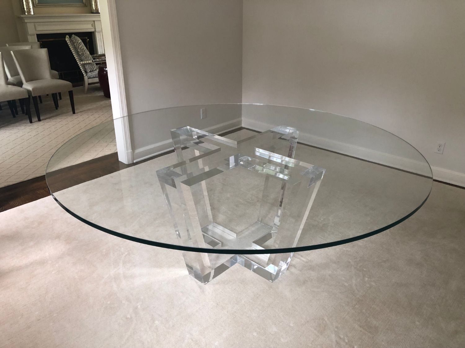 allan knight del ray lucite and glass dining table