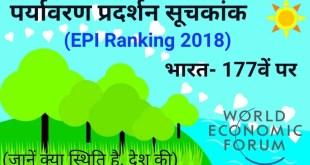 वैश्विक पर्यावरण सूचकांक में भारत 177वें पायदान पर