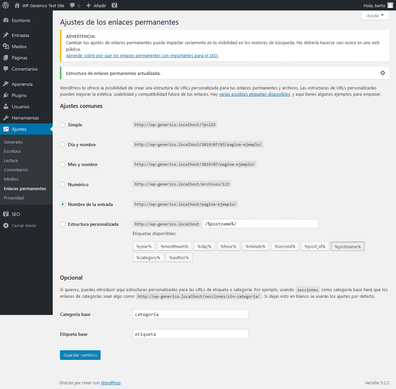 ajustes enlaces permanentes-wordpress