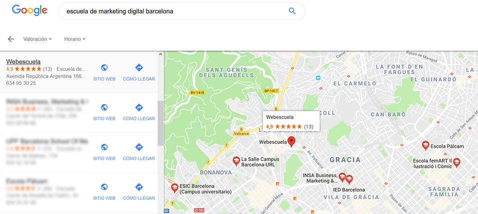 Ejemplo de Google My Business: Webescuela