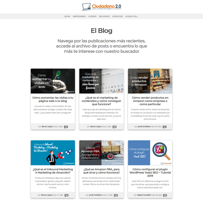 ejemplo lista posts blog
