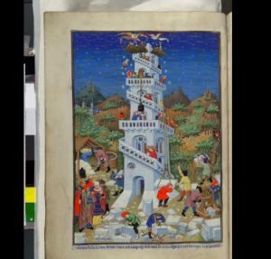 The Tower of Babel, one of the images made for Henry VI. BL Add MS 18850, f. 17v (photo courtesy British Library)