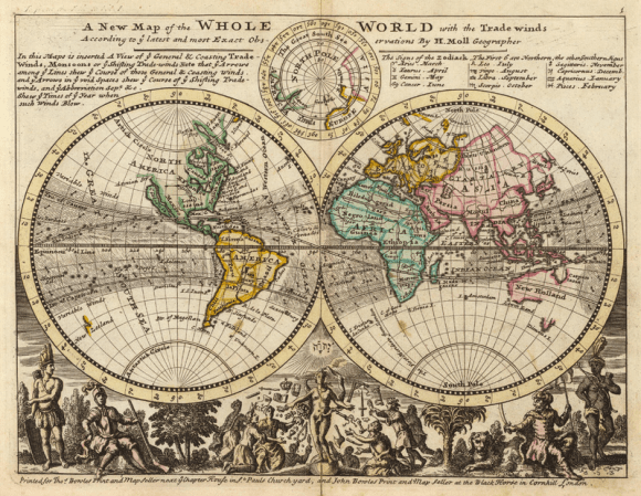 Herman Moll's A new map of the whole world with the trade winds (1736)