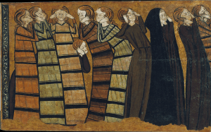 Mourners tearing their hair and faces in grief, c. 1295, Castile. 1 of 8 wooden panels originally in the chapel of San Andrés de Mahamud (Burgos). The Plañideros panels are currently in Sala 19 of the Museu Nacional d'Art de Cataluyna, in Barcelona, catalog numbers 004372-003, 004372-004, 004372-005, and 004372-006.