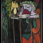 Picasso, reading at a table