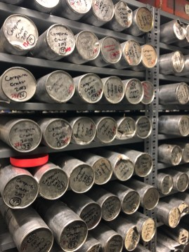 Ice cores from high mountain glaciers, stored at Byrd Polar Research Center. Photo by author.