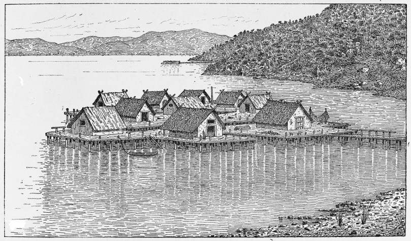 Swiss prehistoric lake dwellings. as pictorially restored by A. de Mortillet