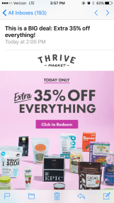 Screenshot of Thrive Market email.