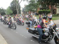 A band of motorcycles participate in the London Pride Parade on July 28. Photo by Erica Howes