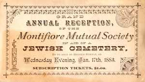 Moses Montifiore Society Jewish Cemetery Annual Reception Ticket, 1883