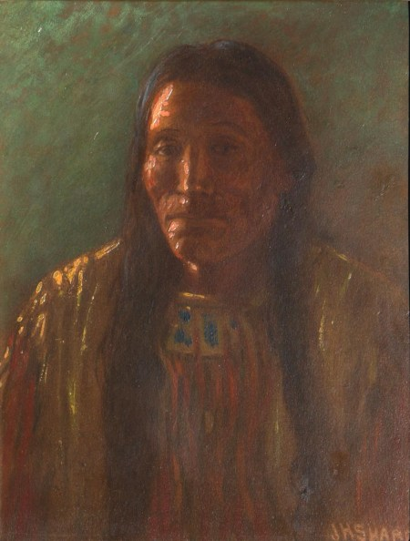 Joseph Henry Sharp, Indian Portrait, Oil on Board, 9'' x 7'