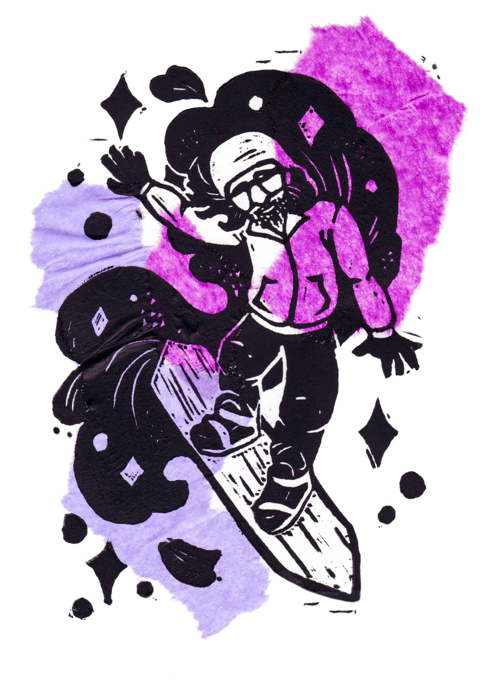 Drawing of snowboarder