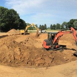 Excavating work