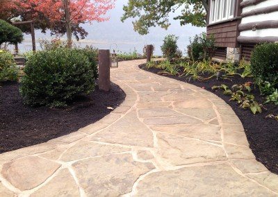 Walkway and landscaping