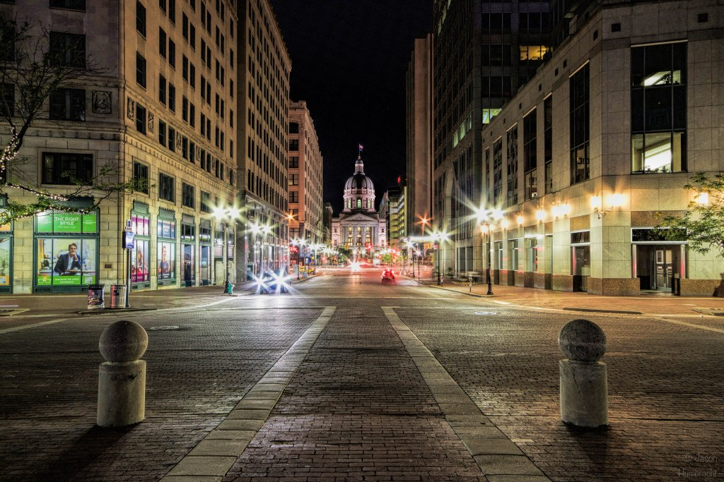 Indiana State Capital | Monument Circle | Indianapolis Night | Image By Indiana Architectural Photographer Jason Humbracht