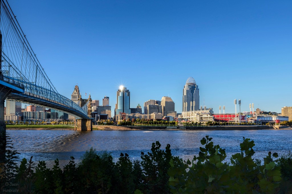 Cincinnati Skyline | John A. Roebling Bridge | Ohio River | Image by Indiana Architectural Photographer Jason Humbracht
