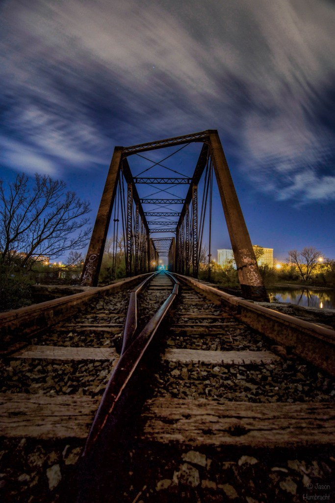 wide angle photography tips | Indy night | Indianapolis at Night | Indianapolis Nightscapes | Indianapolis Architecture | Train Bridge | Image By Indiana Architectural Photographer Jason Humbracht