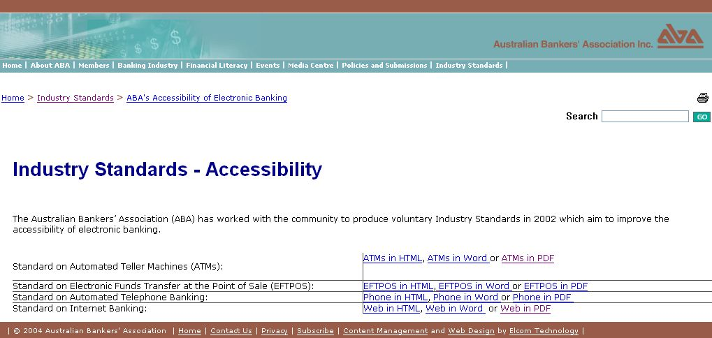 호주 은행 연합회 접근성 표준