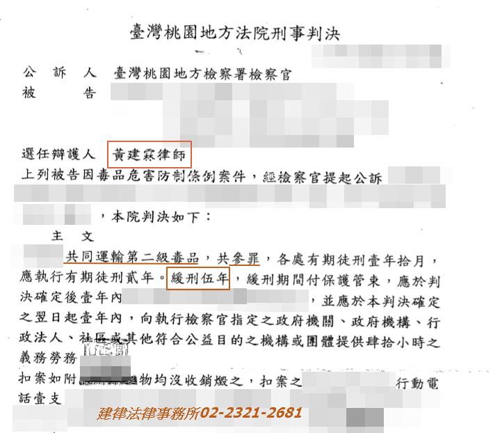 【刑事】當事人涉嫌三次運輸毒品,獲緩刑案例(桃園)