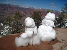 Someone built two little snowmen