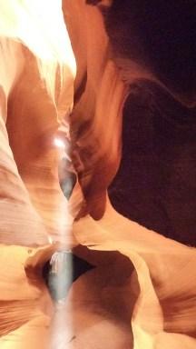 Light pillars in Antelope Canyon