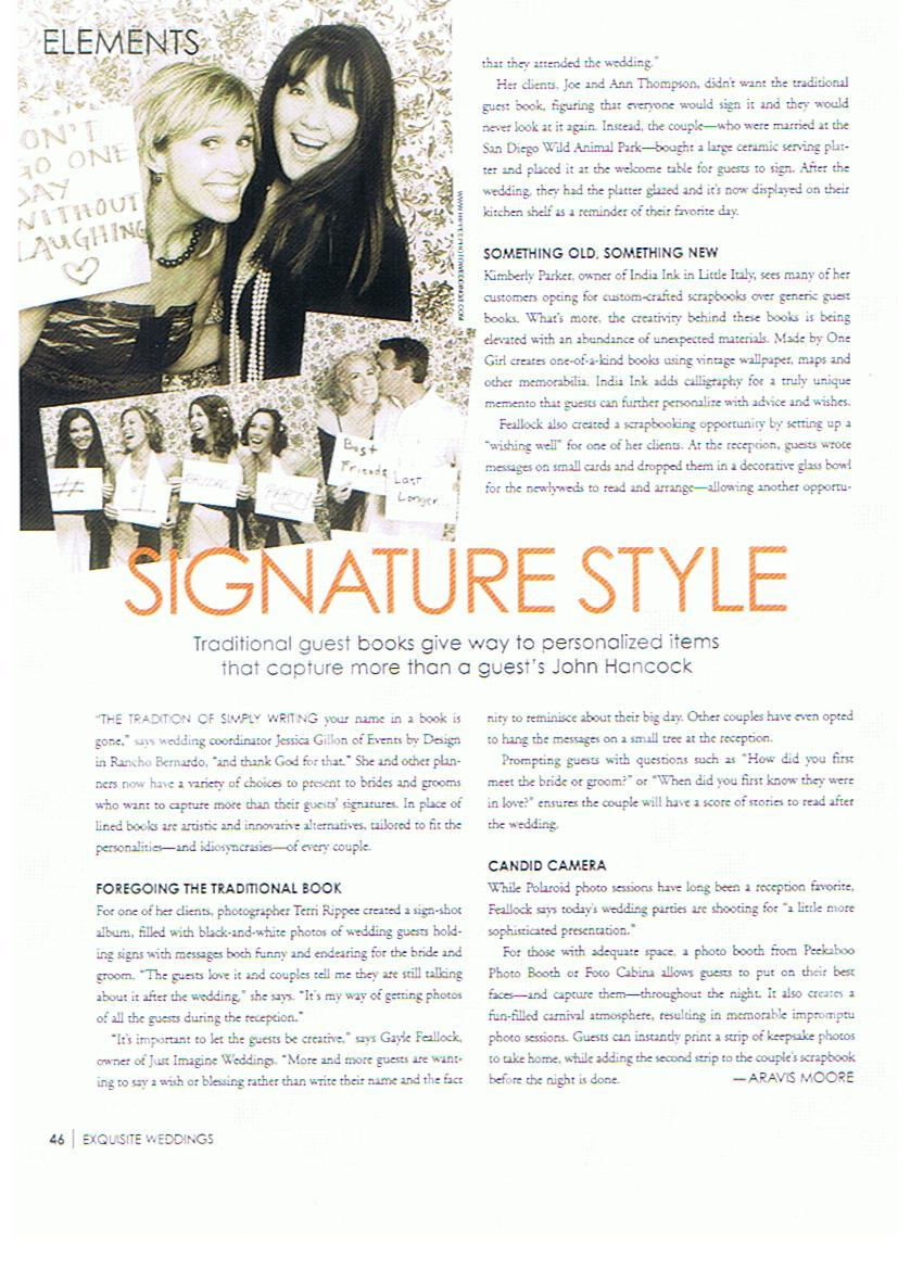 Just Imagine Weddings in Exquisite Weddings Magazine Fall 09