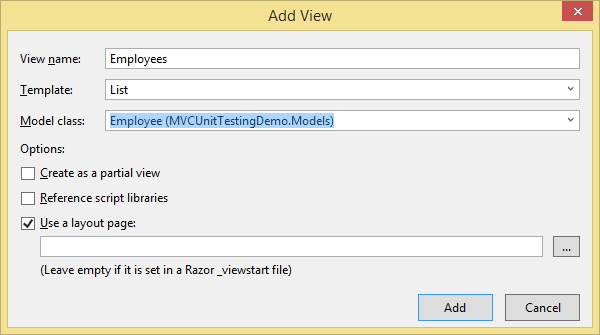 Add new view in ASP.NET MVC