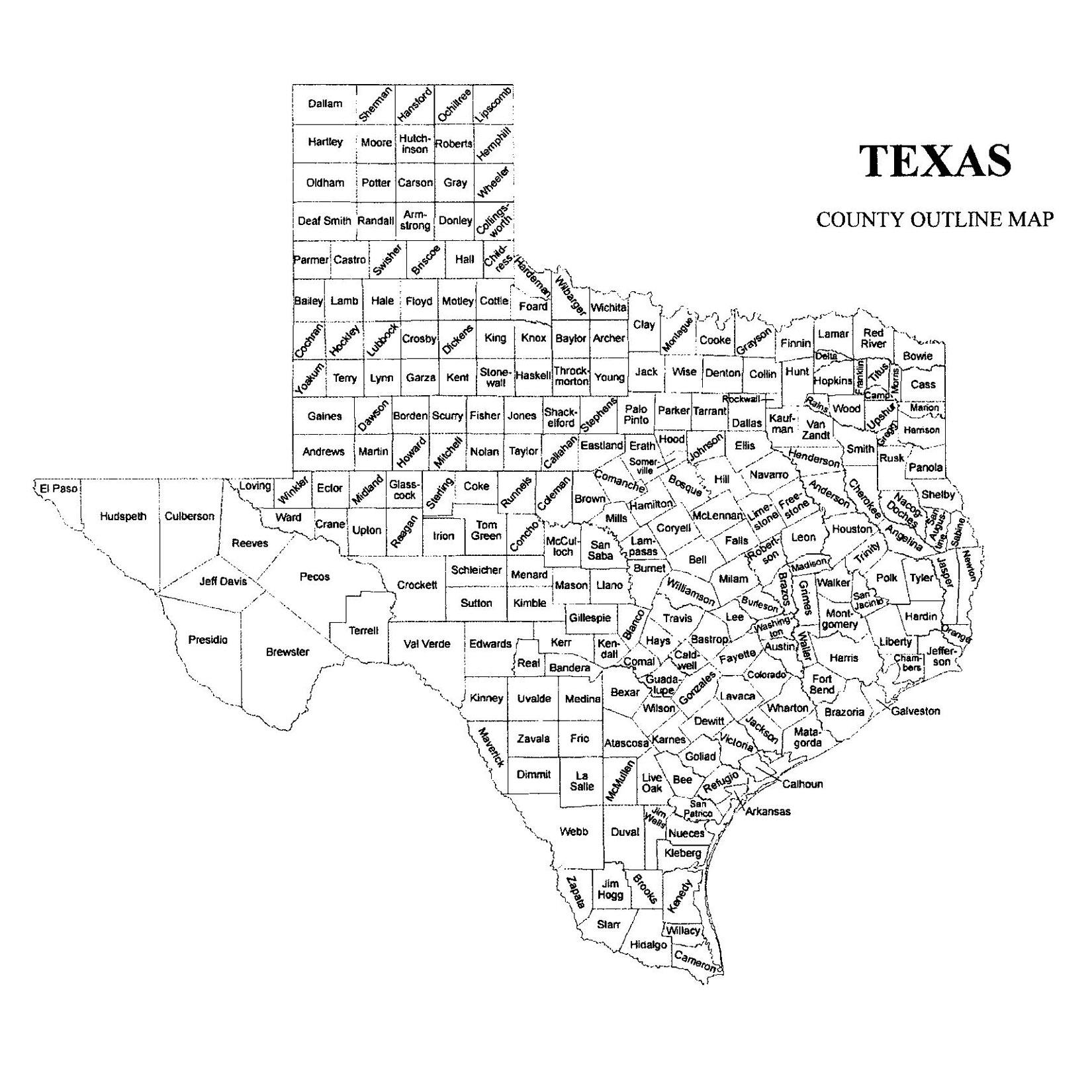 Texas County Map Jigsaw Genealogy