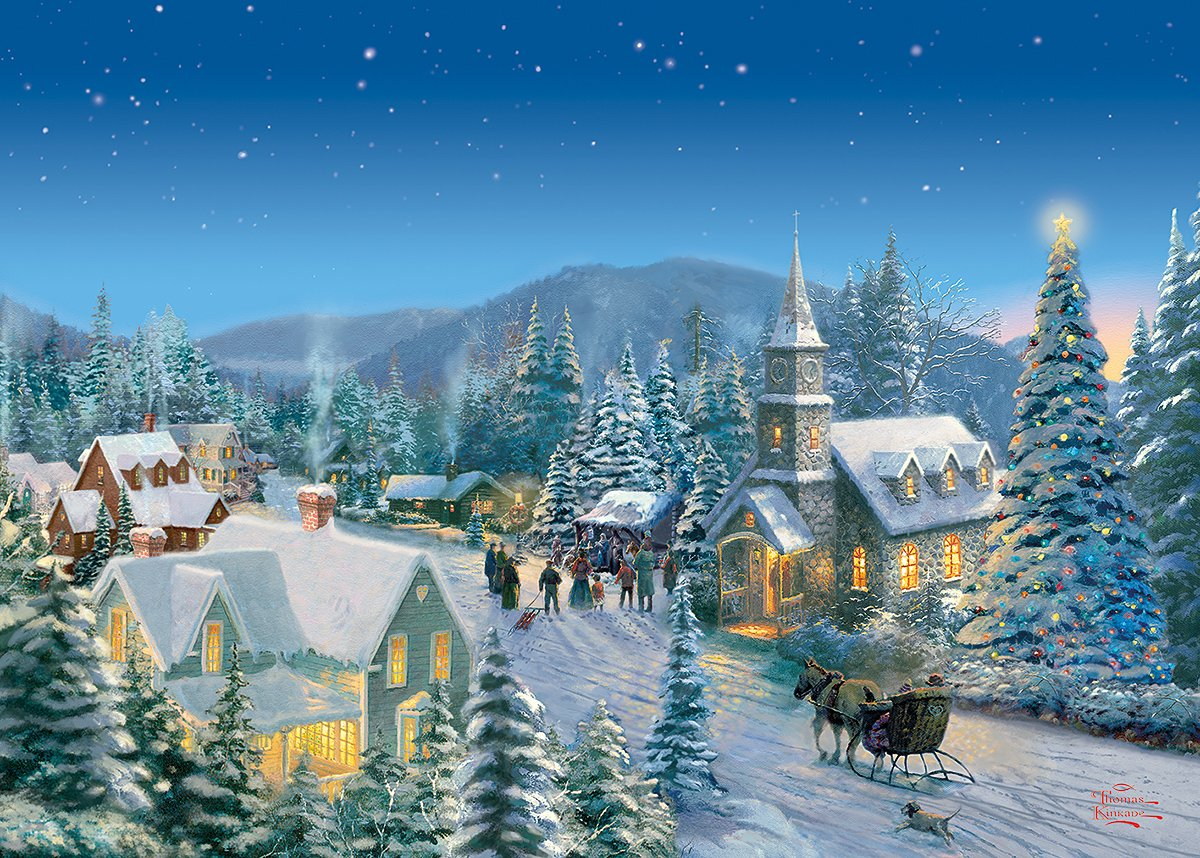 Thomas Kinkade Christmas Puzzles Discover The Painter Of