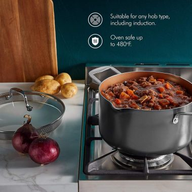 Vonshef casserole and multi pot with strainer lid, induction hob ready