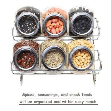 6 jars seasoning bottles set glass storage tank compact rack for kitchen BBQ and camping picnic