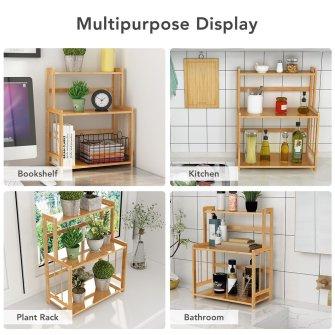 Bamboo kitchen counter top storage organizer  with adjustable shelf