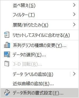 「データ系列の書式設定」をクリック