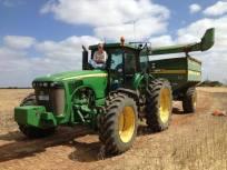 Chaser bin driving for harvest season.