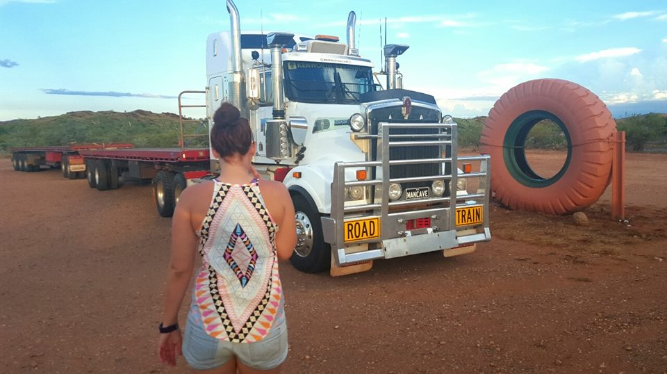 Driving a road train home from up north.
