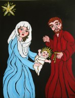 Nativity (Russian icon inspired), acrylic on canvas, 16 x 20