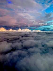 Clouds at sunset from airplane photographed by Jill K H Geoffrion