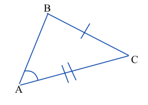 Triangle ABC. Angle A is marked congruent to angle D in triangle DEF, side BC is marked congruent to side EF, and side AC is marked congruent to side DF.