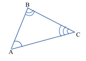 Triangle ABC. Angle A is marked congruent to angle D in triangle DEF, angle B is marked congruent to angle E, and angle C is marked congruent to angle F. Triangle DEF is shown in a different picture.
